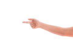 Het richten van de vinger, vrouwelijke geïsoleerde hand, Stock Afbeeldingen