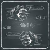 Het richten van vinger in oude uitstekende stijl op bord Stock Foto