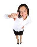 Het richten van vrouw Aantrekkelijke glimlachende vrouw die direct richten royalty-vrije stock afbeelding