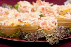 Het richten zich - meng me van garnalen met groenten appetiz Stock Afbeelding