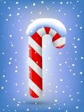 Het riet en de sneeuwvlokken van het Kerstmissuikergoed Stock Fotografie
