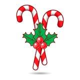 Het riet van het Kerstmissuikergoed met bessen, vectorillustratie Stock Afbeelding