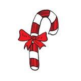 Het riet van het Kerstmissuikergoed met lint Royalty-vrije Stock Afbeelding