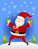 Het Riet van het Suikergoed van de Holding van de Kerstman in Sneeuw Stock Afbeelding