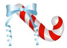 Het riet van het Kerstmissuikergoed met een boog Vrolijk traditioneel gestreept suikergoed voor uw groetkaarten, affiches, flarde royalty-vrije illustratie