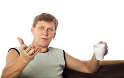Het rijpe mens gesturing Stock Foto's
