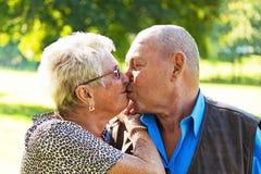 Het rijpe paar kussen in liefdeoudsten Royalty-vrije Stock Foto's