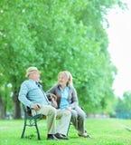 Het rijpe paar spreken gezet op bank in park Stock Foto's
