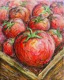 Het rijpe Rode Tomatenillustratie Schilderen Royalty-vrije Stock Afbeeldingen