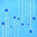 Het rijstpapier sneed blauwe lineair en cirkel abstact Royalty-vrije Stock Afbeeldingen