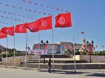 Het rijtjeshuis en de plaats DE gouvernement in Tunis, Tunesië royalty-vrije stock afbeelding