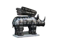 Het rinoceroscijfer is een symbool van de stad van Dortmund, Duitsland Op het zijn getrokken nota's en een inschrijving - muziek  stock afbeelding
