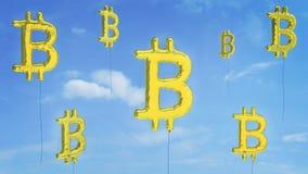 Het risico van de Bitcoinbel van gebarsten gaan stock afbeelding