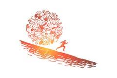 Het risico van de medicijnengezondheid en schade, pijnstillers en drugsverslaving, opioid crisismetafoor royalty-vrije illustratie