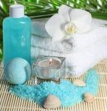 Het rituele bad van het kuuroord volledig met mooie witte orchidee Royalty-vrije Stock Foto