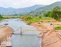 Het rivieren en bruggenbamboe Stock Afbeelding