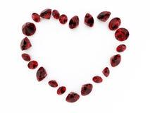 Het robijnrode hart van de diamant Stock Afbeeldingen
