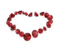Het robijnrode hart van de diamant Stock Foto's