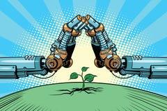 Het robotwapen beschermt groene spruit, technologiemilieu en n stock illustratie