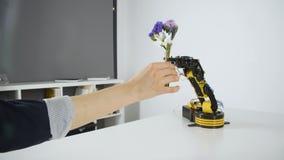 Het robotwapen geeft Meisje een Boeket van Bloemen Experiment met Intelligente Manipulator Industrieel Robotmodel