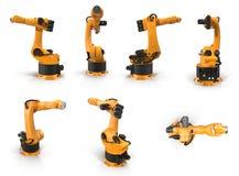 Het robotwapen voor de industrie geeft reeks vanuit verschillende invalshoeken op een wit terug 3D Illustratie Royalty-vrije Stock Afbeelding