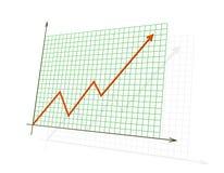 Het rode 3d diagram dat hoge verwezenlijkingen toont Royalty-vrije Stock Foto