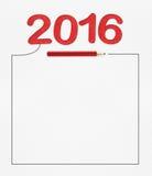 het rode aantal van 2016 op Witboek met potlood en tekeningskader, moc Royalty-vrije Stock Foto's