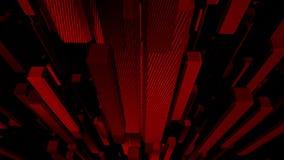 Het rode abstracte kubussen van een lus voorzien als achtergrond stock footage