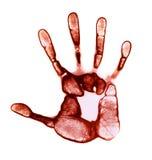 Het rode Af:drukken van de Hand stock foto