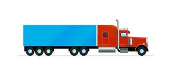 Het rode Amerikaanse van de de vrachtlading van de vrachtwagenaanhangwagen vlakke geïsoleerde ontwerp vector illustratie