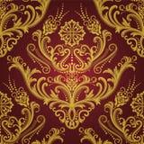 Het rode & gouden bloemenbehang van de luxe Stock Fotografie
