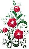 Het rode Art. van Bloemen Vector Illustratie
