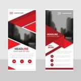 Het rode Bedrijfsbroodje op malplaatje van het Banner het vlakke ontwerp, vat Geometrische Vector de illustratiereeks samen van h Royalty-vrije Stock Foto's
