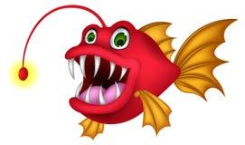 Het rode beeldverhaal van monstervissen Stock Afbeeldingen