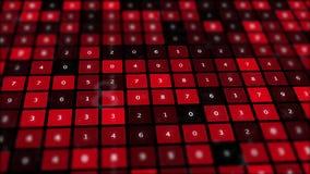 Het rode binaire scherm met net van aantallen stock illustratie