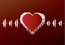 Het rode cardiogram van de Valentijnskaart Stock Foto