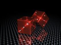 Het rode casino dobbelt Royalty-vrije Stock Afbeeldingen