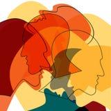 Het rode concept van Hoofdenmensen, symbool van communicatie tussen mensen royalty-vrije illustratie