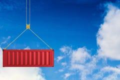Het rode container hangen Stock Foto