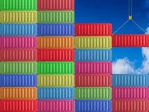 Het rode container hangen Royalty-vrije Stock Foto's
