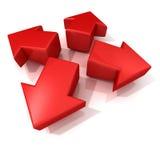 Het rode 3D pijlen uitbreiden zich Front View Stock Afbeeldingen