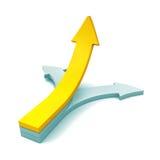 Het rode 3d toenemen op leiderspijl op witte achtergrond stock illustratie