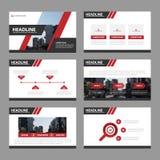 Het rode de elementen vlakke ontwerp van Infographic van presentatiemalplaatjes plaatste voor het pamflet van de brochurevlieger  Royalty-vrije Stock Afbeeldingen