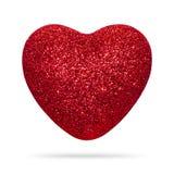 Het rode die hart met schittert textuur op witte achtergrond wordt geïsoleerd De vorm van het hart royalty-vrije stock fotografie