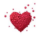 Het rode die hart van plastic die parels, 3d liefdesymbool wordt gemaakt, op wit wordt geïsoleerd, geeft terug Royalty-vrije Stock Fotografie