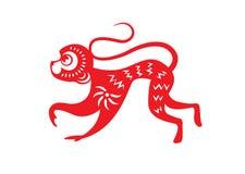 Het rode document sneed de symbolen van een aapdierenriem Stock Afbeelding