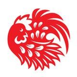 Het rode document sneed de symbolen van een de cirkeldierenriem van de haankip Stock Afbeelding