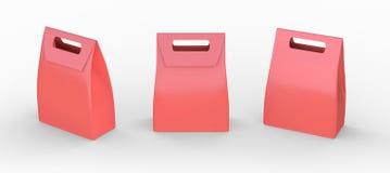 Het rode document zak gevouwen pakket met handvat, het knippen weg omvat Royalty-vrije Stock Afbeeldingen