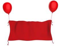 Het rode doekbanner hangen met rode die ballons op wit worden geïsoleerd Stock Fotografie