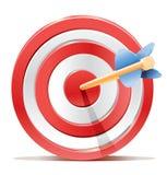 Het rode doel en de pijl van het pijltjesdoel. Stock Afbeelding